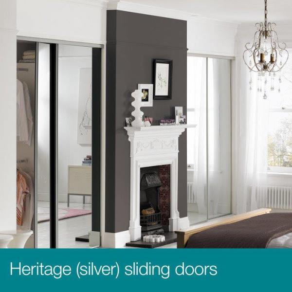 Alcove Example, Silver Frame Doors With Silver Mirrors.