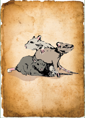 "Three rats from ""Rats in the Walls"""