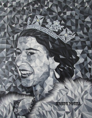 Young Queen Elizabeth 98 x 118 cm - oil on canvas