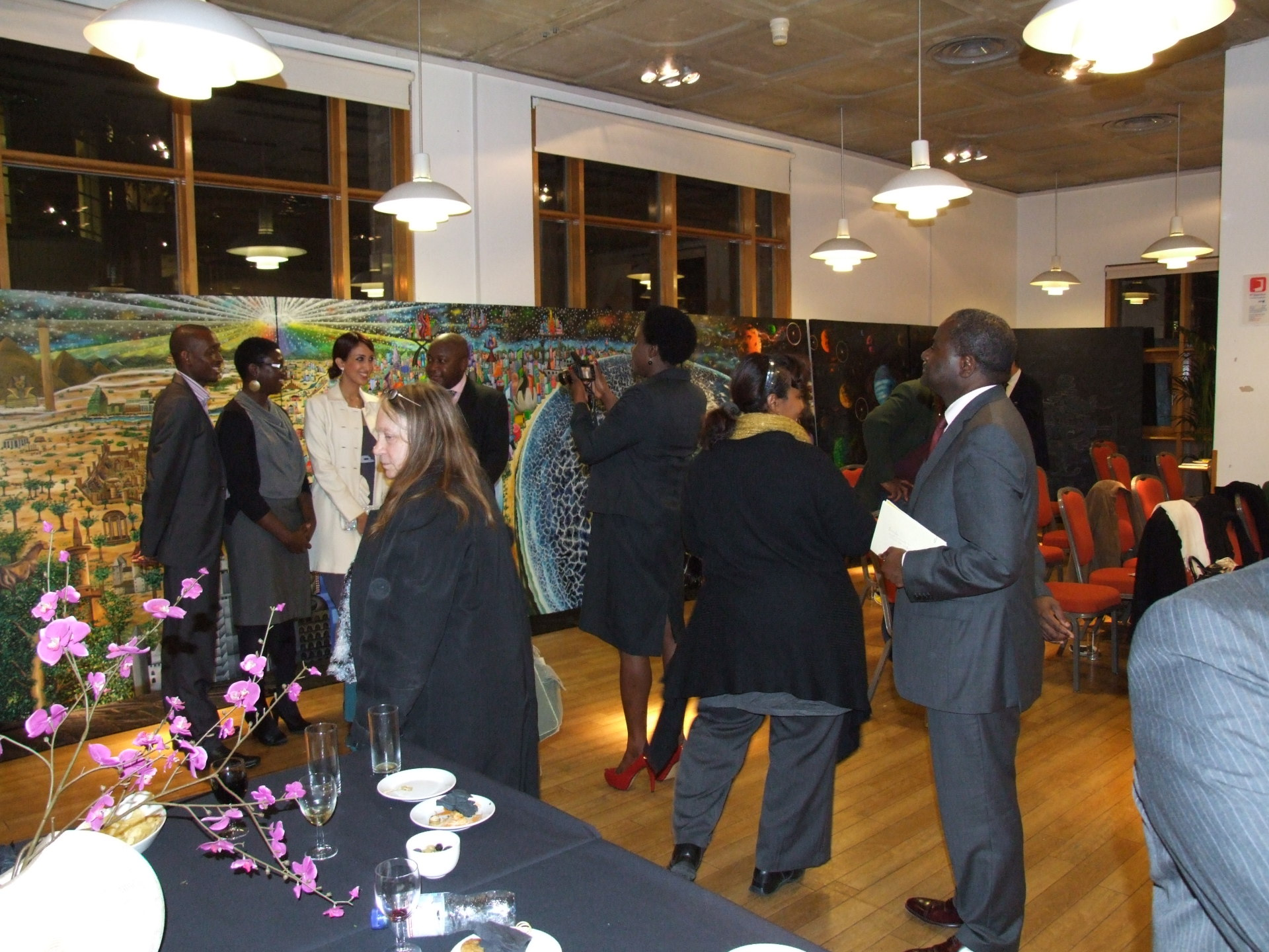 Exhibition at the SOAS, London. Hosted by journalist Henry Bonsu, attended by Princess Nouf al Saud, the ambassador of Mozambique and the first secretary of the US embassy