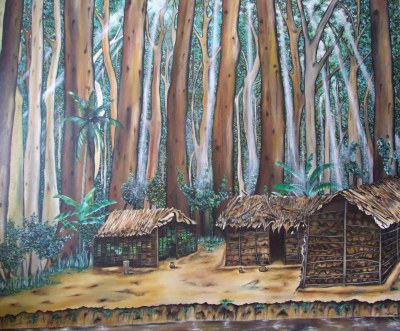 Congo Village 170x140 cm - oil on canvas