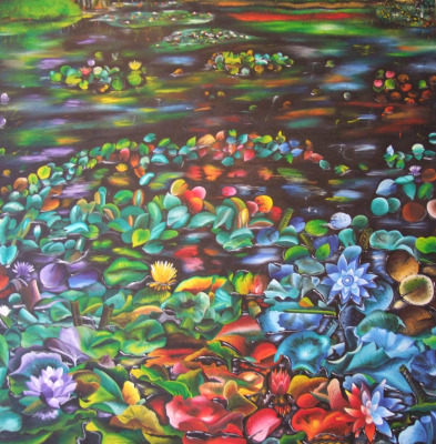 Lillies 150 x 150 cm - oil on canvas