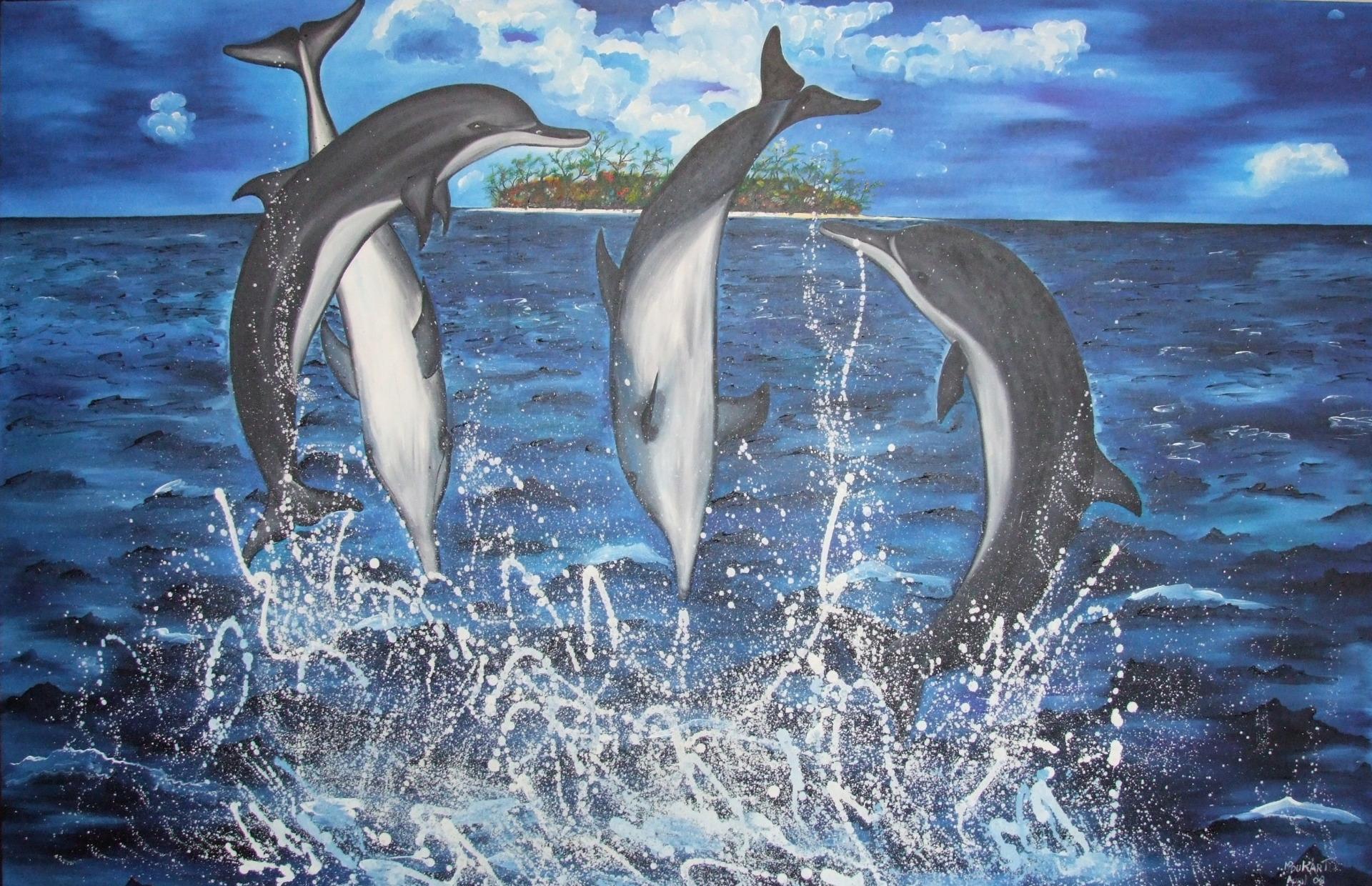 Dolphins 160 x105 cm - oil on canvas