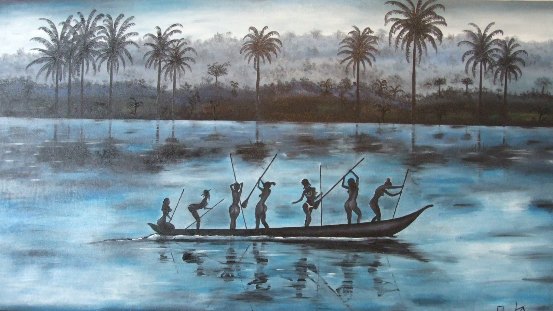Women's Pirogue 165 x 92 cm - oil on canvas