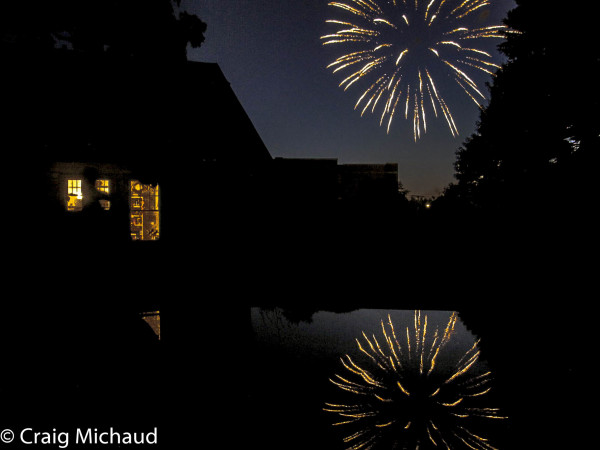 Nashua NH Fireworks reflection in pool