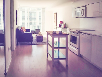 Staging a long narrow space