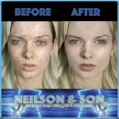 image before and after skin retouching, after neilson and son used photo retouching services.
