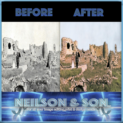 adding colour to black and white image, edited by Neilson and son showcasing photo restoration services
