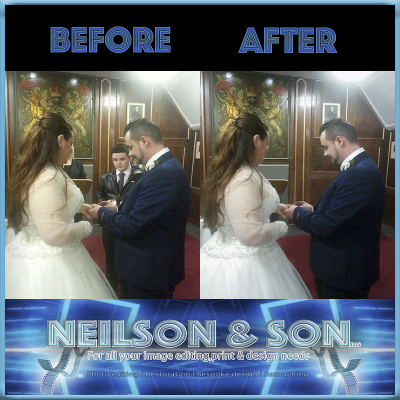 before and after digital retouching by  Neilson and son using  photo retouching services