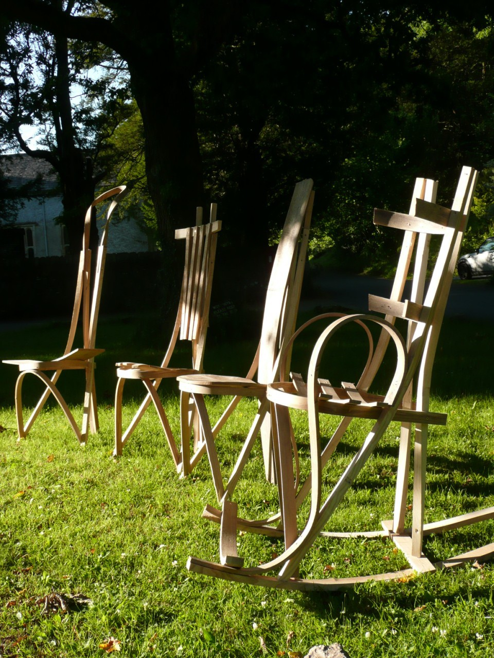 steambending, steambent, chair, furniture, woodwork, sunshine