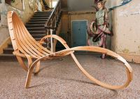 tom raffield, chaise lounge chair, steambent, cornwall, falmouth