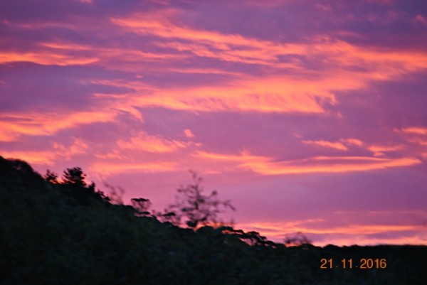 Spectacular Sunset Above Cabins