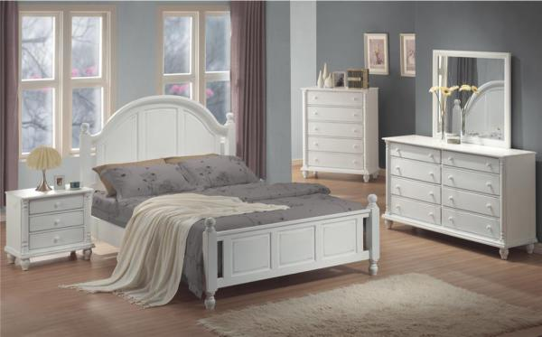 white bed, traditional bed, tall headboard, stylish design, distressed