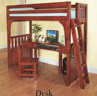 loft bed, bunk, desk