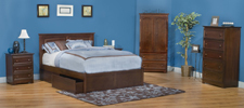 traditional bed, platform bed, storage bed, storage platform, slatted headboard