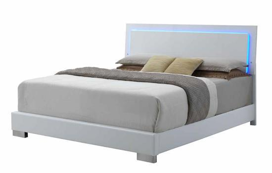 padded bed, leather bed, white leather, modern