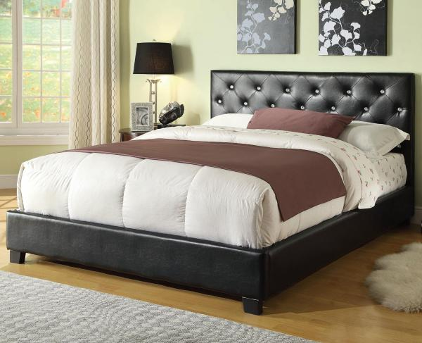 padded bed, leather bed, platform bed, leather platform