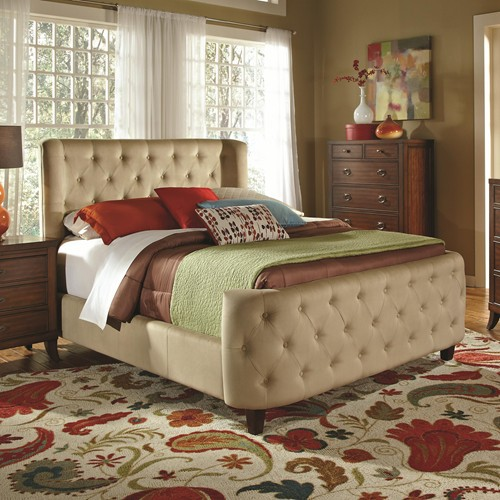fabric bed, upholstered bed, traditional bed
