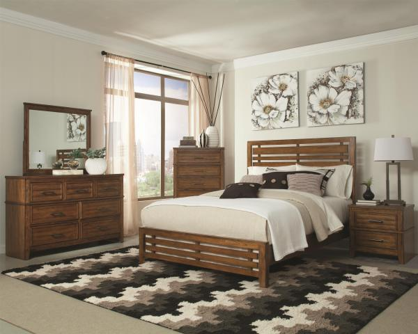 wood finish, simple design, stylish bed
