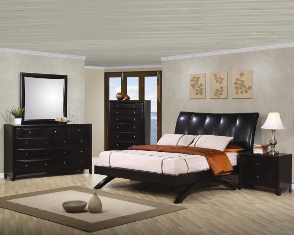 padded headboard, platform bed, modern bed, stylish bed