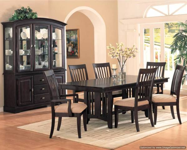 formal dining set, dining room, buffet and hutch, table and chairs, large dining set