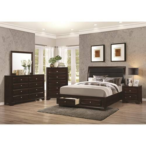 storage bed, platform, modern bed, padded headboard