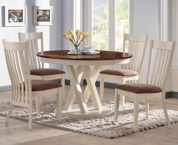 dining room table, dinette, wood dining set, white, off white, contemporary dining