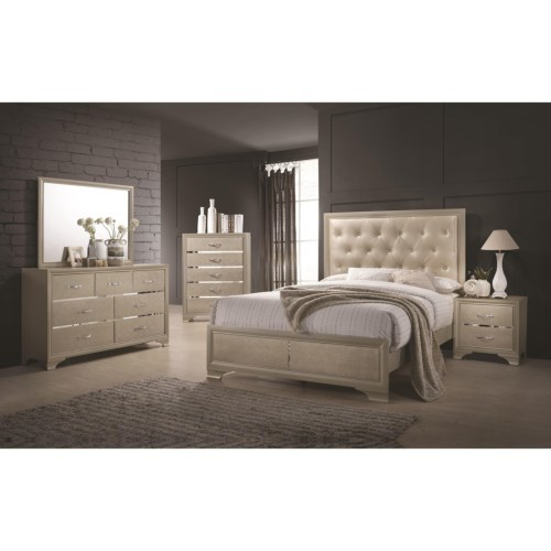 glam style, bling furniture, light color bedroom set