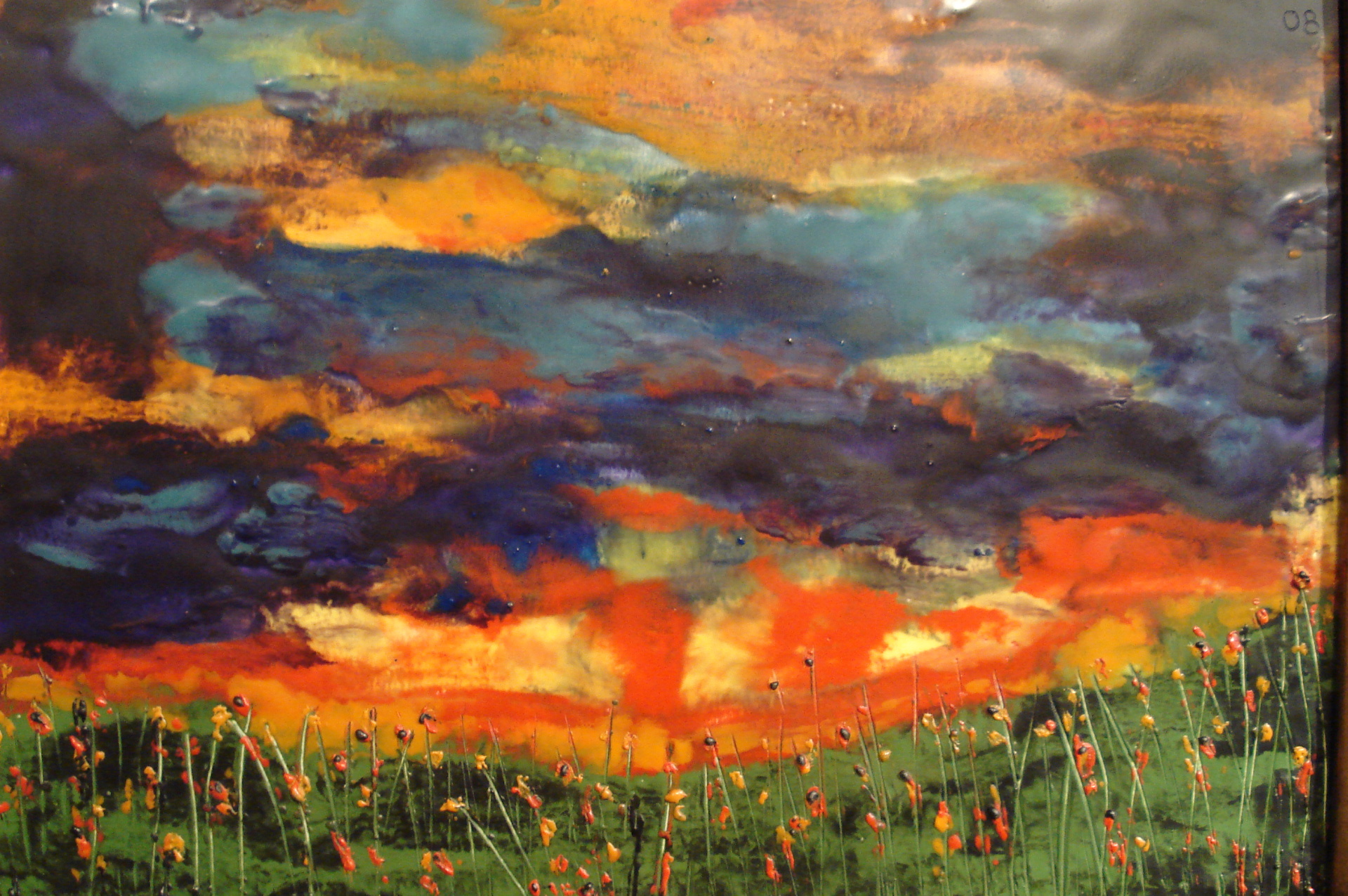 Encaustic oil sunset