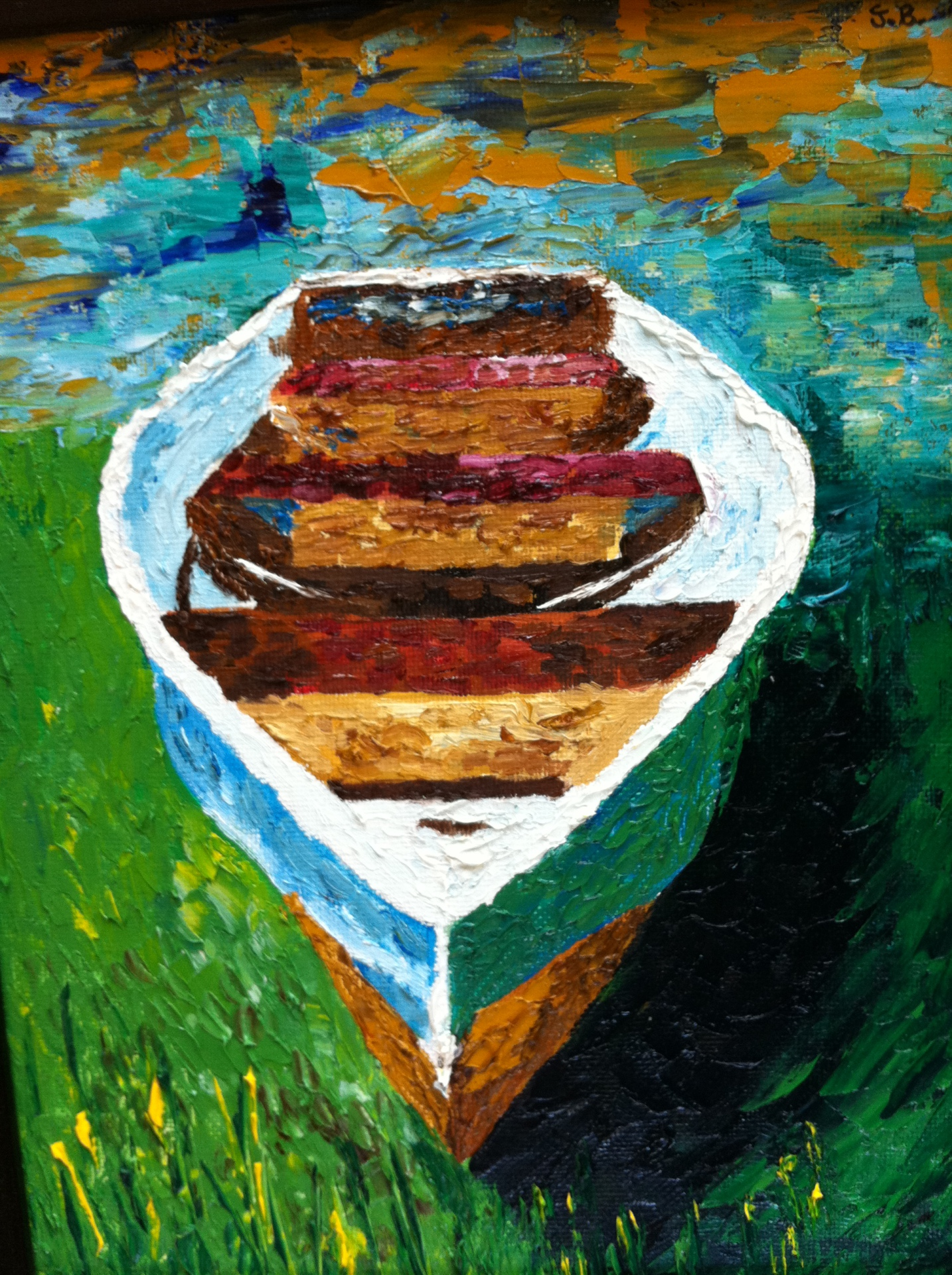 Oil painting - pond boat