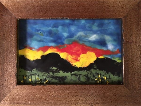 Encaustic oil painting of mountains and sunset