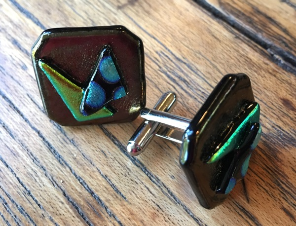 Fused glass cuff links on stainless steel posts