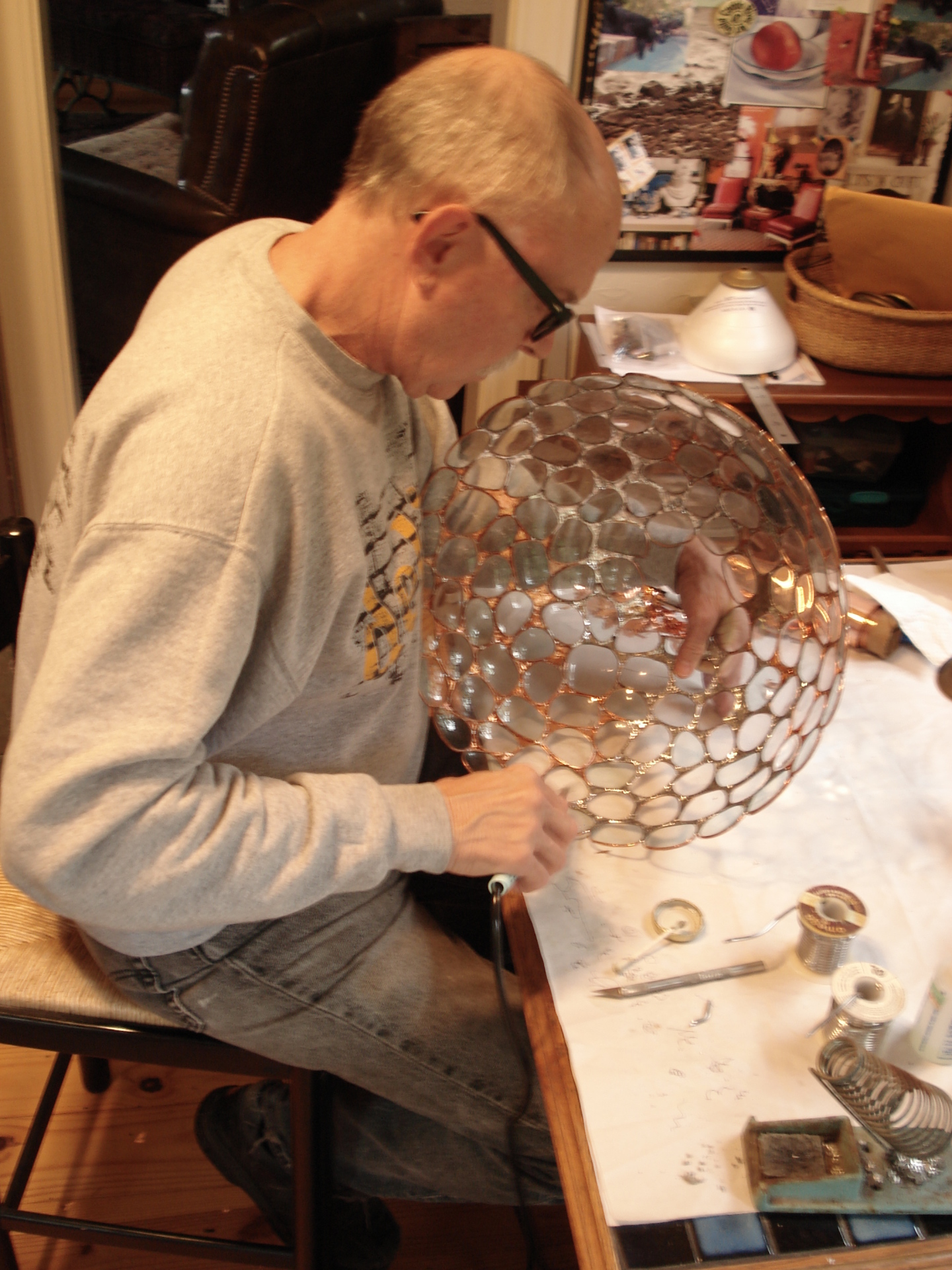 Jerry working on the eyeglass shade