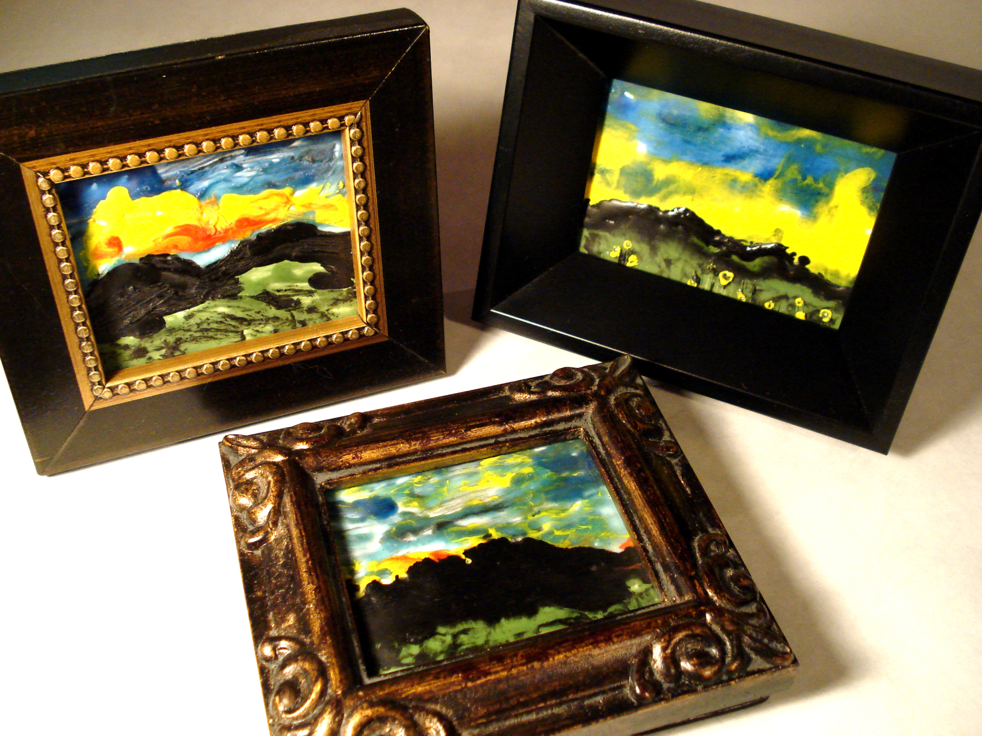 Miniature encaustic oil paintings