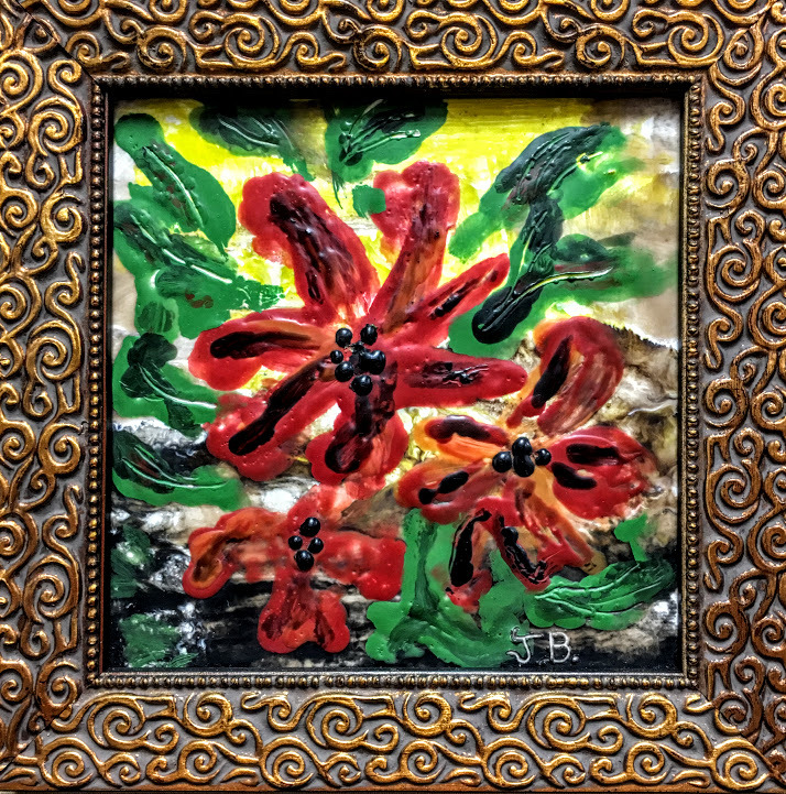 Encaustic oil floral