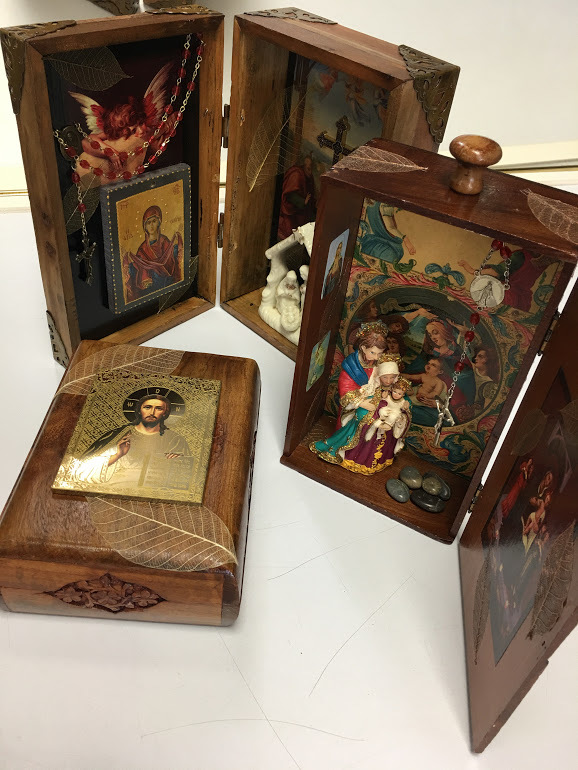 Religious box sculptures