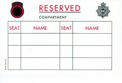 BMT Compartment Reservation Card