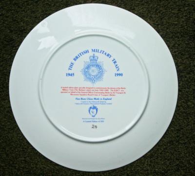 British Military Train Anniversary Plate Reverse