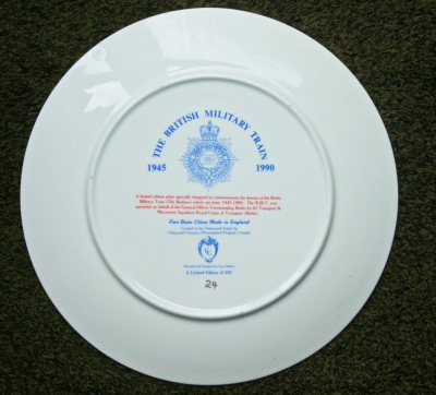British Military Train Anniversary Plate Reverse