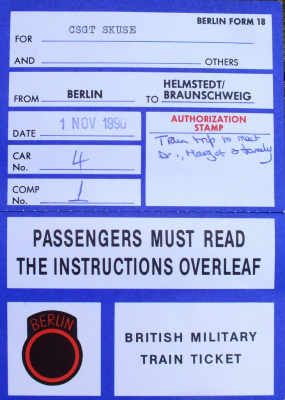 British Military Train Ticket 1 November 1990