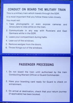 British Military Train Ticket 1 November 1990