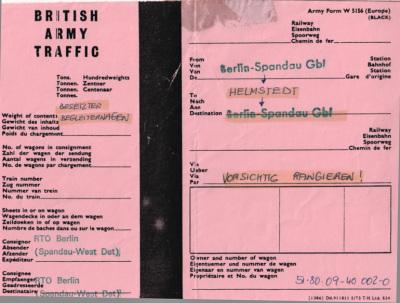 Last British Military Freight Train 29 - 30 June 1990 Way Bill