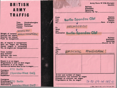 Last British Military Freight Train 29 - 30 June 1990 Way Bill