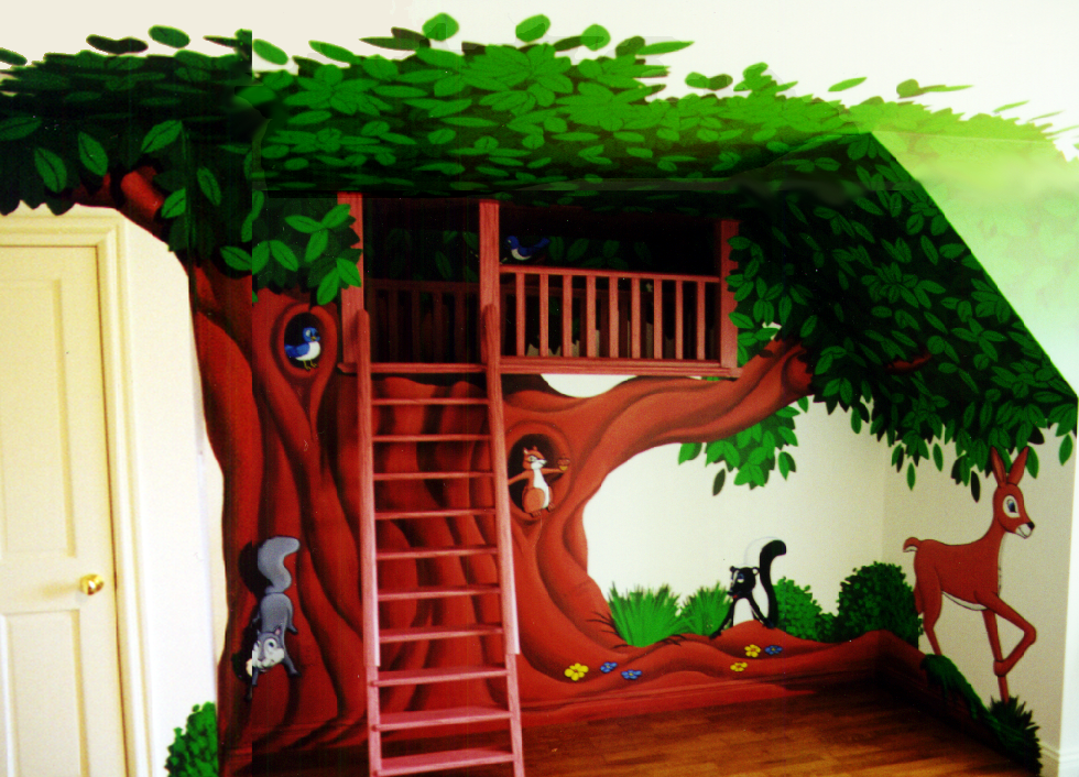 tree, treehouse, mural, animals, cartoon, wall