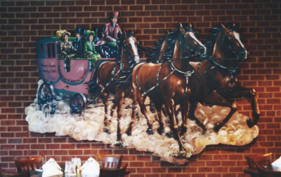carriage, horse, horses, restaurant, mural