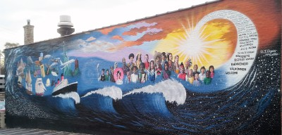 photo, mural, immigrants, America,