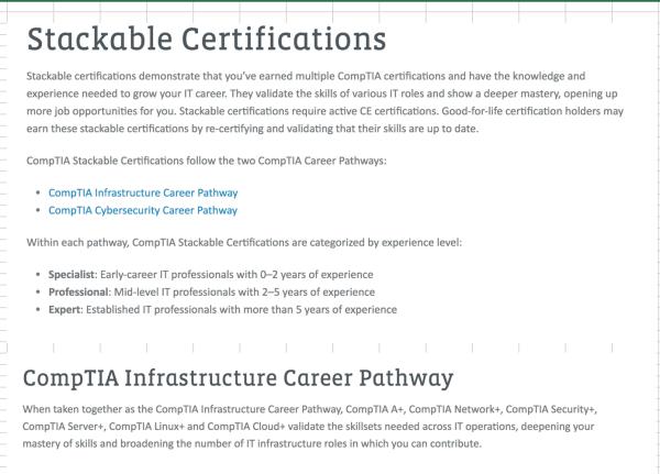Stackable Certifications