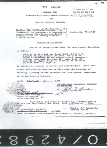 1970 Land Covenant Notice ATT site/