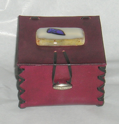 Small jewellery box with fused glass jewellery decoration