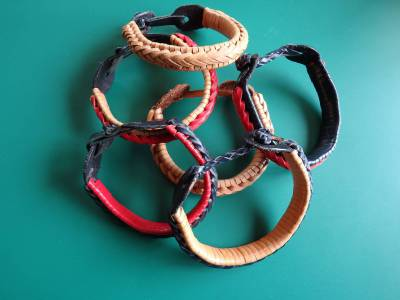 Leather, plaited, bracelets, art, dimoline, ANZLA, NZ, New Zealand